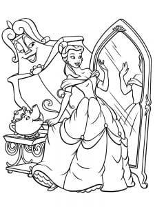 Раскраска Бэлль у зеркала