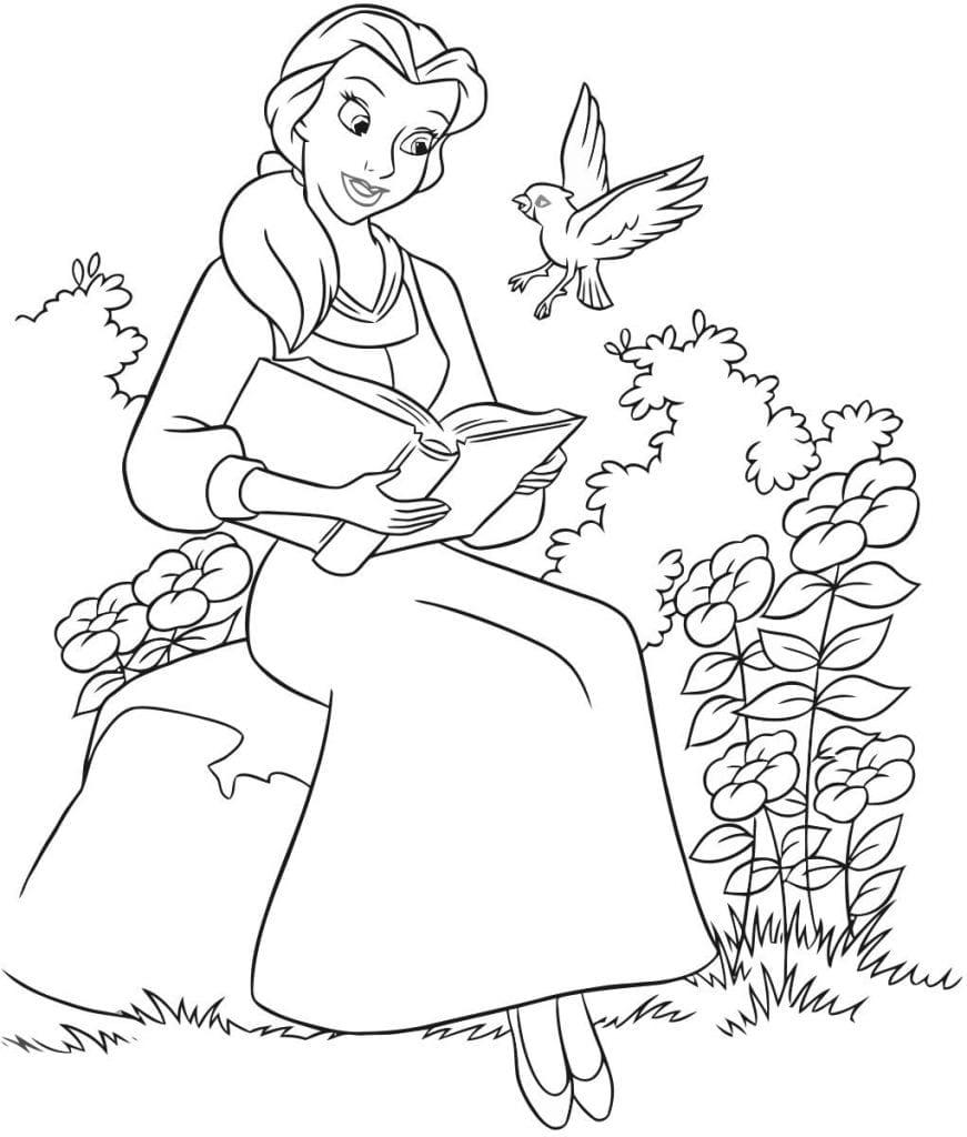 Раскраска Бэлль читает книгу в саду