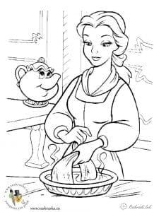 Раскраска Бэль и миссис Потс
