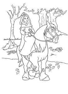 Раскраска Бэль на коне Филлипе