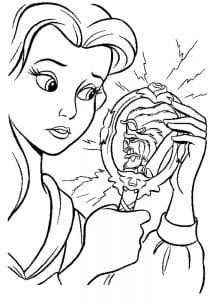 Раскраска Бэль смотрит в зеркало