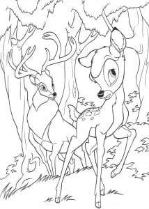 Раскраска Бэмби и его отец