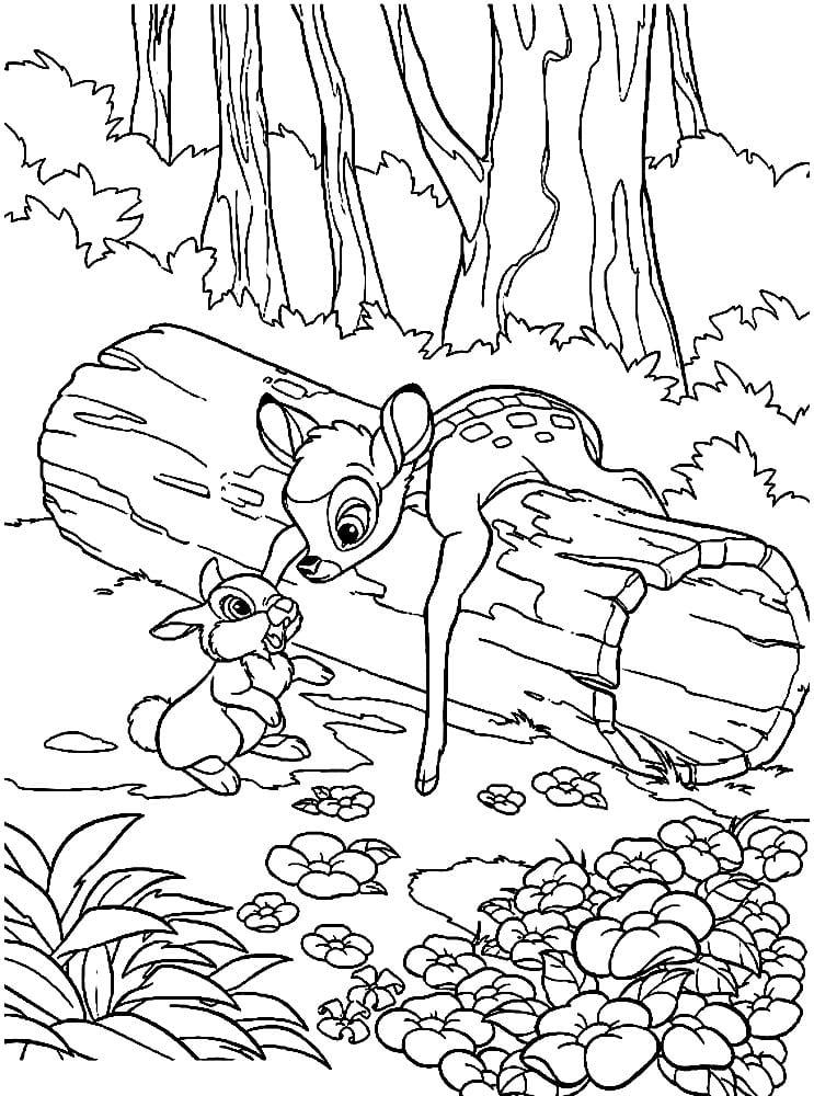 Раскраска Бэмби и зайчонок