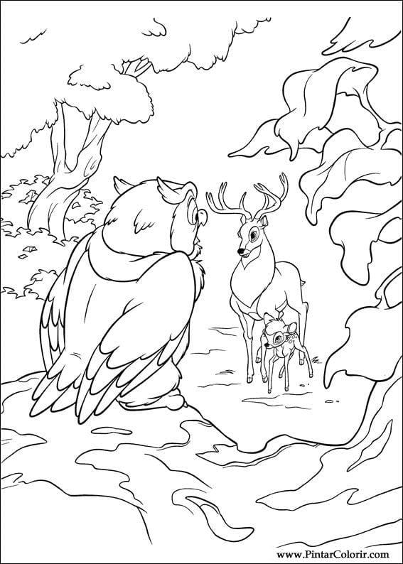 Раскраска Бэмби и отец встречают сову