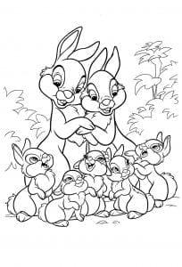 Раскраска Бэмби семья кроликов