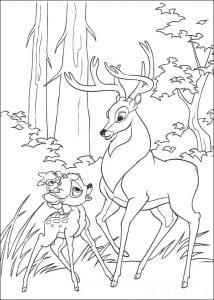 Раскраска Бэмби с сыном