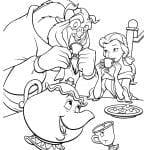 Раскраска Чудовище и Бэлль пьют чай