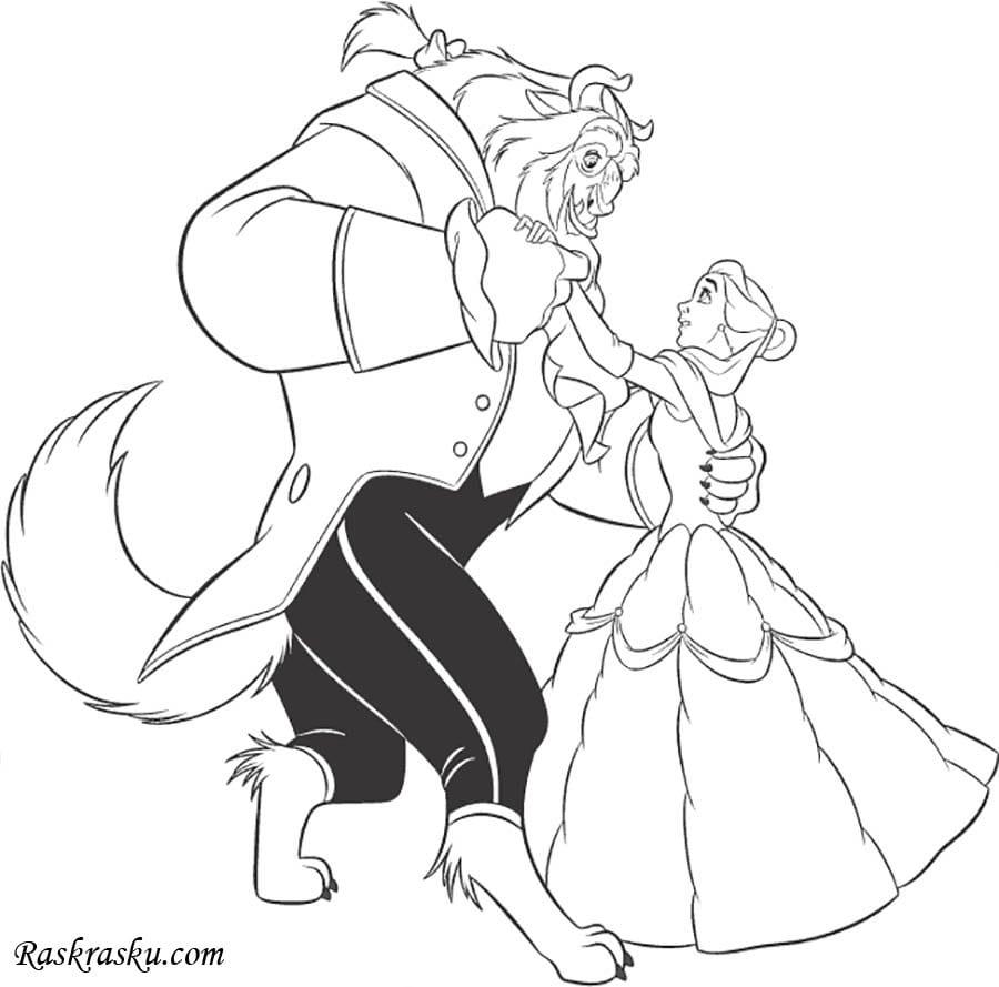Раскраска Чудовище и Бэлль танцует