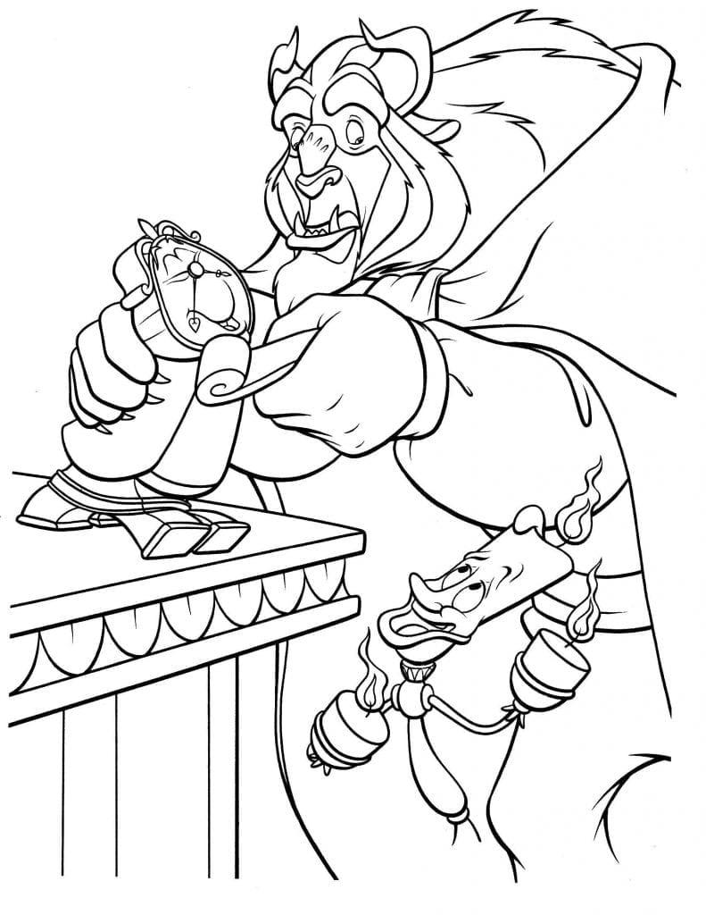 Раскраска Чудовище с Люмьером и Когсвортом - Рисовака