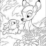 Раскраска маленький Бемби и Топотун
