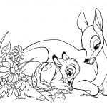 Бэмби и его мама раскраска