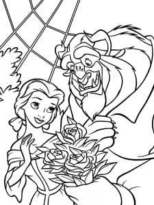 Раскраска чудовище дарит цветы Бэлль