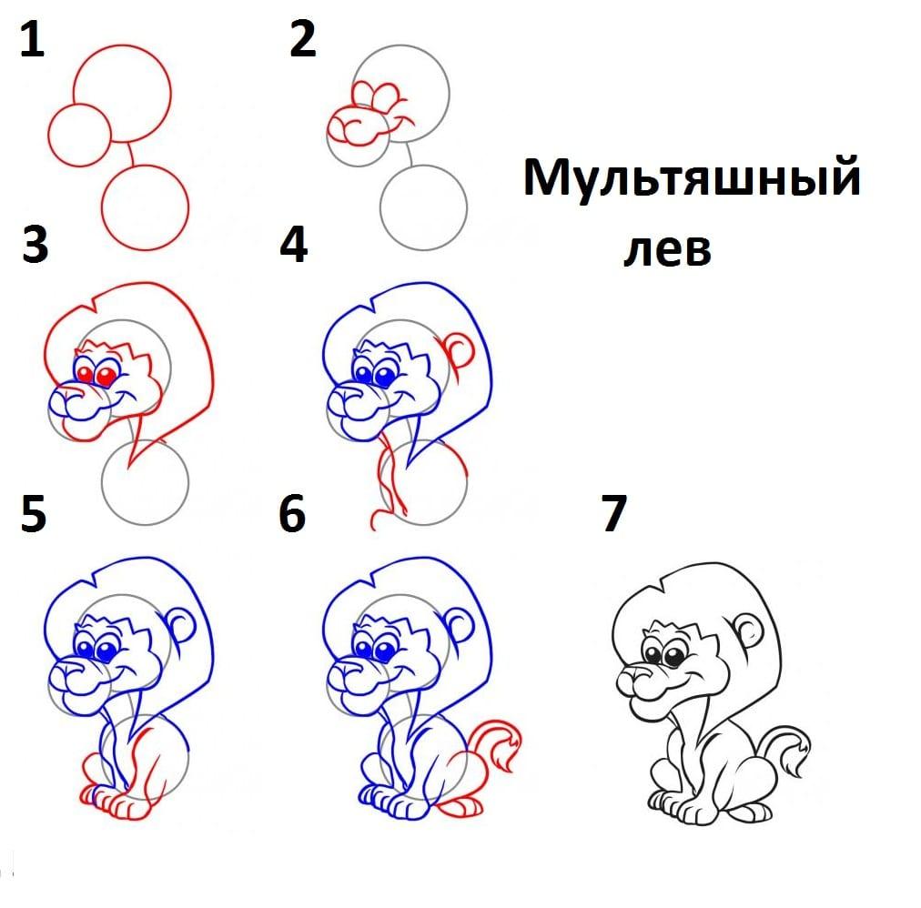 как нарисовать мультяшного льва