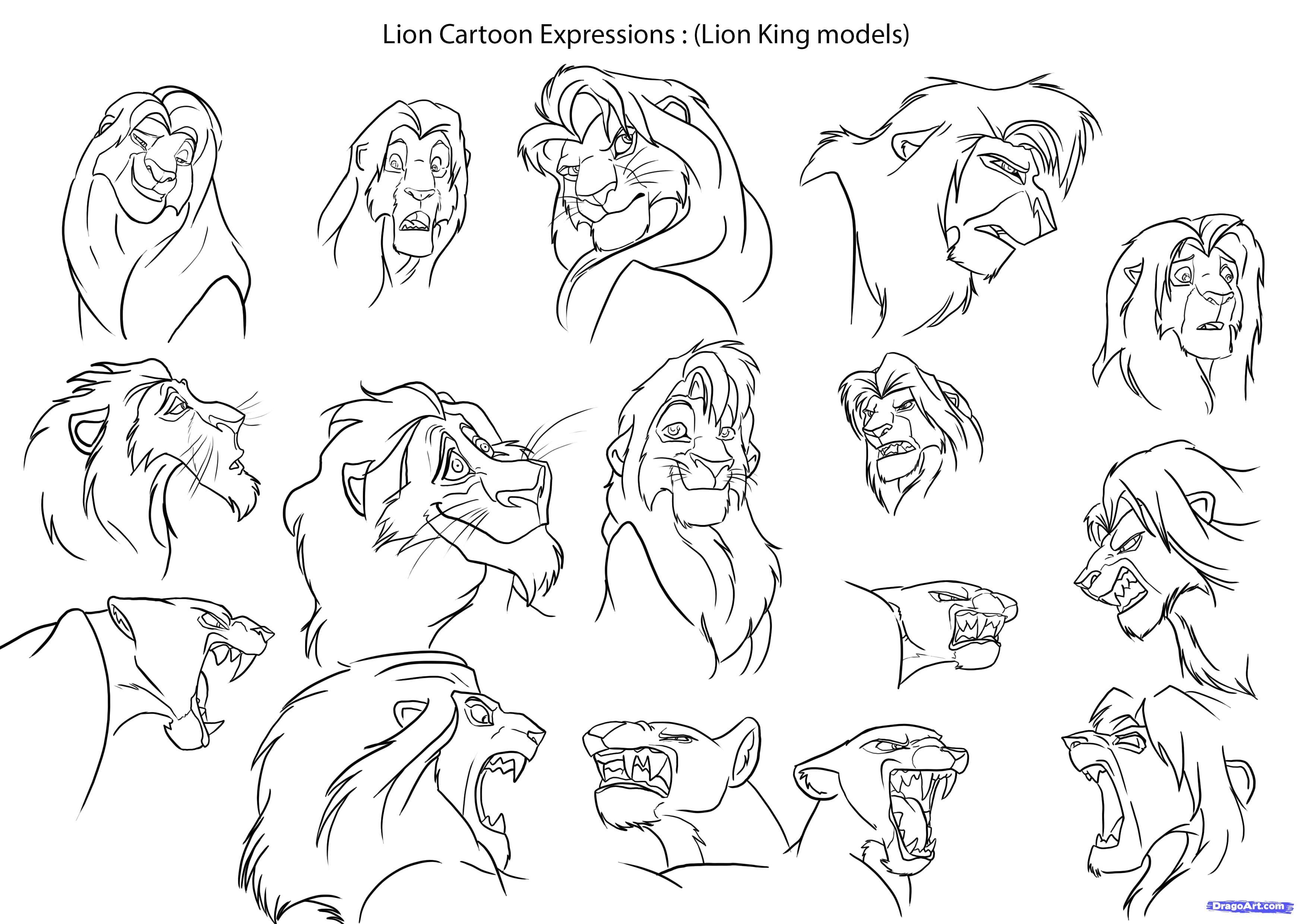 как нарисовать мультяшных львов