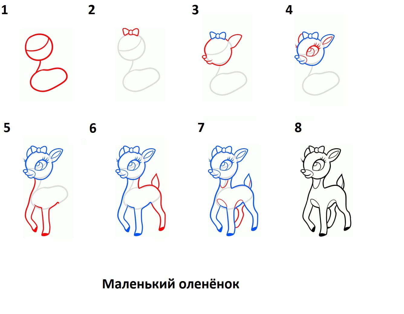 -олененок Как нарисовать оленя поэтапно
