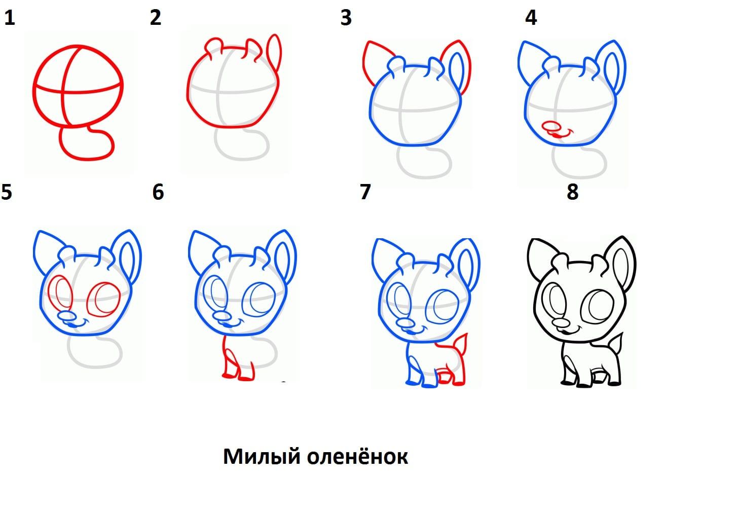 -оленёнок Как нарисовать оленя поэтапно