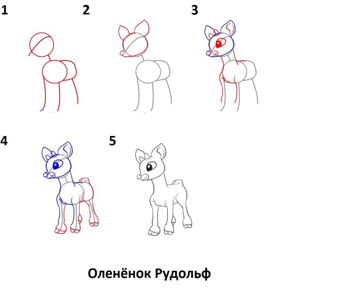 -Рудольф Как нарисовать оленя поэтапно
