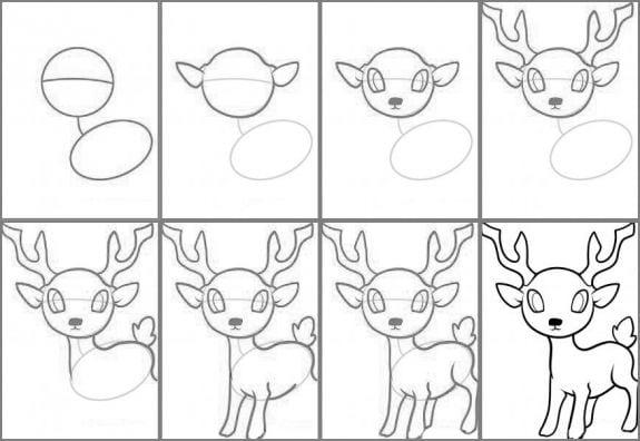 90225470 Как нарисовать оленя поэтапно