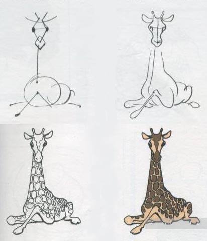 как легко нарисовать жирафа