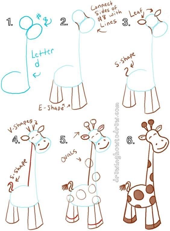 -нарисовать-жирафа-для-детей Как нарисовать жирафа поэтапно