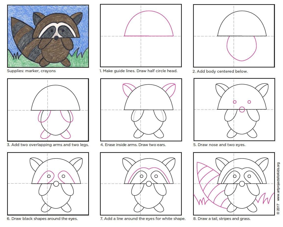 -нарисовать-енота-для-начинающих Как нарисовать енота