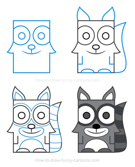 -нарисовать-мультяшного-енота Как нарисовать енота