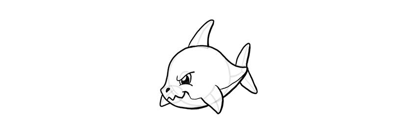 -акула-шаг-10 Милые зверята 5 штук как нарисовать