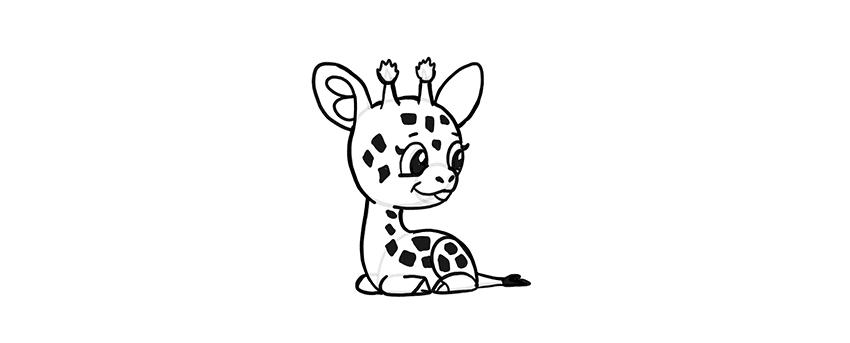 -жираф-10 Милые зверята 5 штук как нарисовать