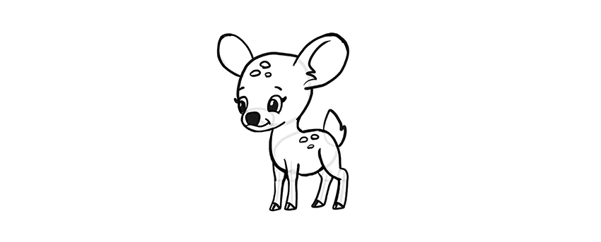 -олень-шаг-13 Милые зверята 5 штук как нарисовать
