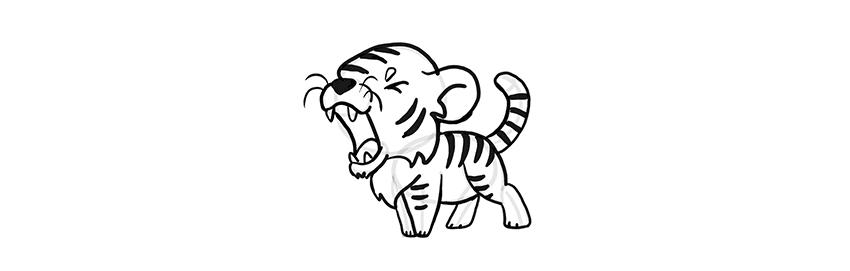Как нарисовать милого рычащего тигра