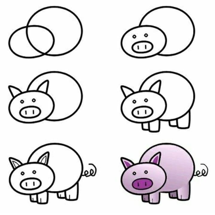 как легко нарисовать свинью