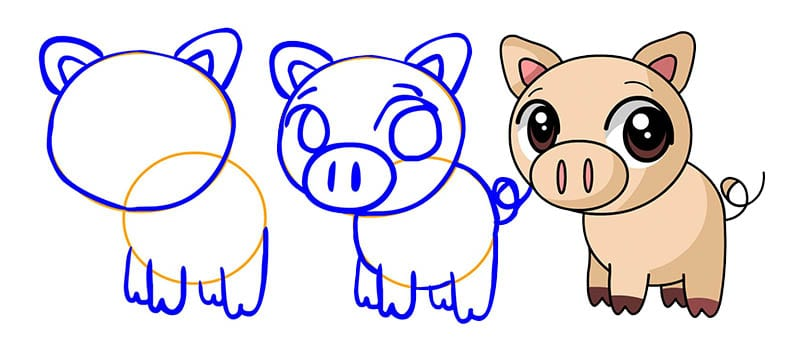 как просто нарисовать свинью