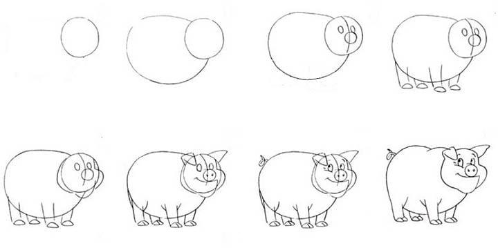 -хрюшка Как нарисовать свинью поэтапно