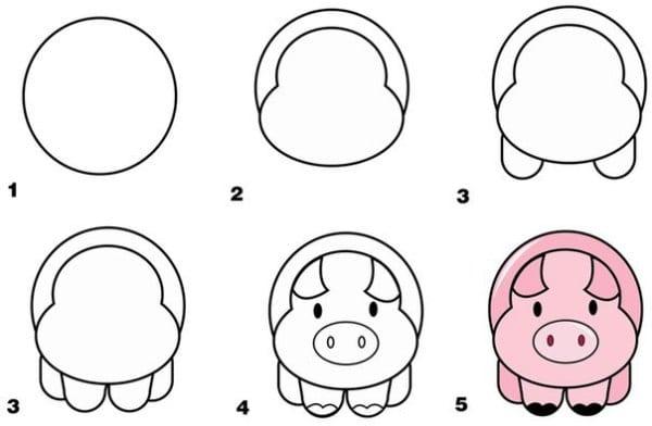 -анфас Как нарисовать свинью поэтапно