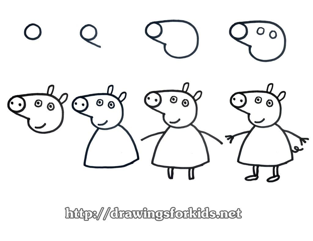 -Пеппа Как нарисовать свинью поэтапно