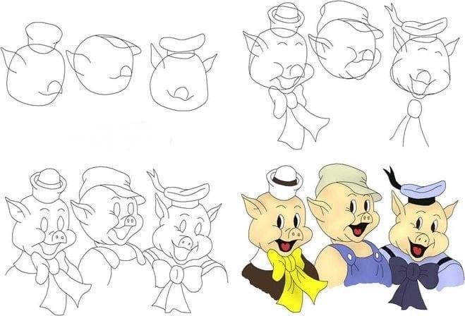 -поросёнка Как нарисовать свинью поэтапно