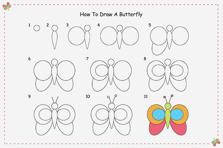 -для-ребёнка Как нарисовать бабочку поэтапно