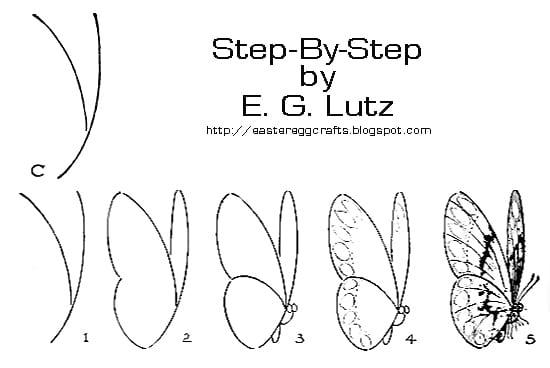 Бабочка профиль нарисовать
