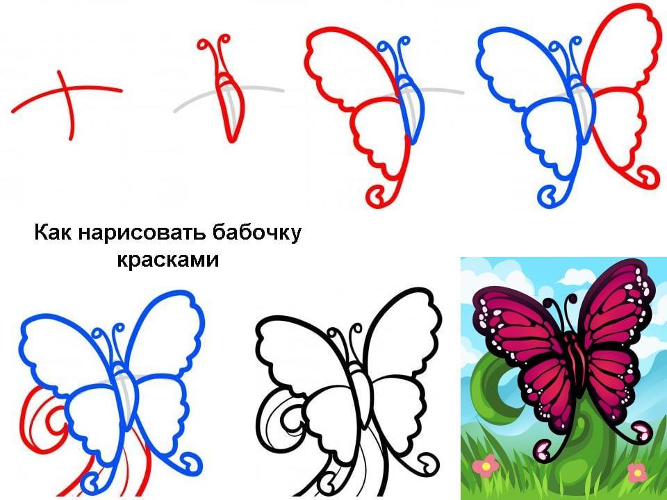 -рисуем Как нарисовать бабочку поэтапно