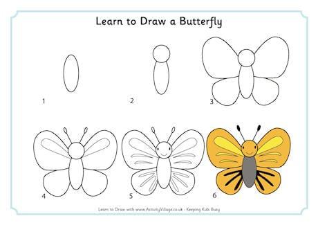 Милая бабочка нарисовать