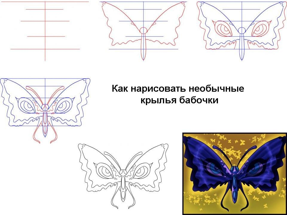 Необычная бабочка нарисовать