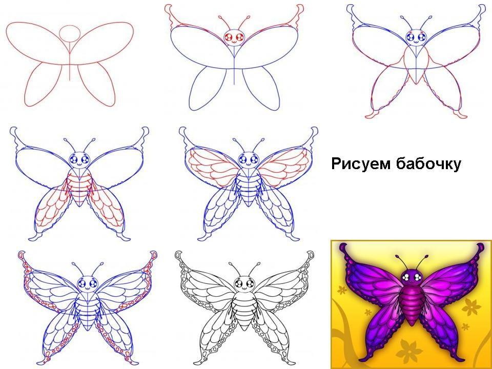 фиолетовая бабочка нарисовать