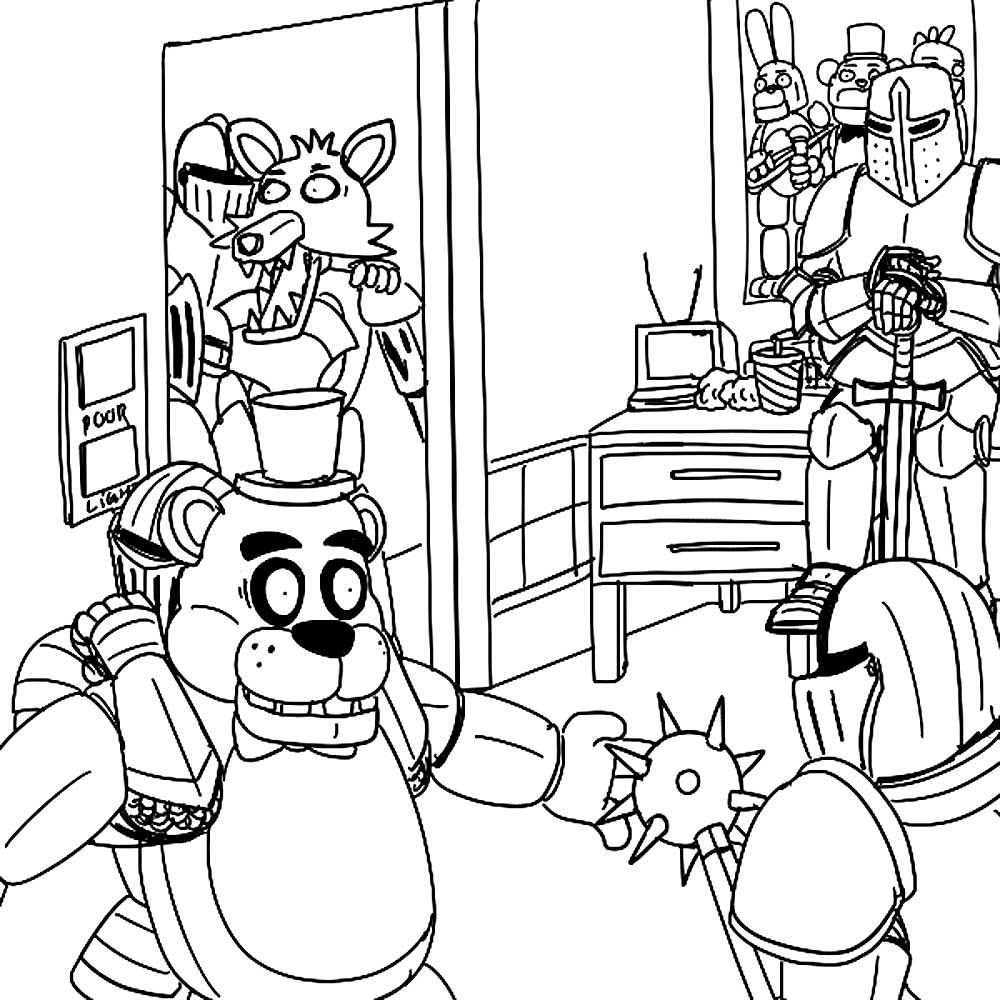 аниматроники фокси картинки раскраски 19 рисовака