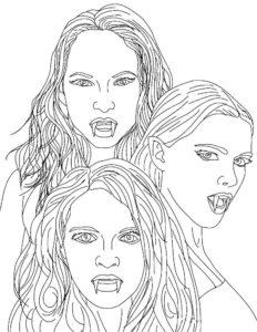 Вампир картинки раскраски (40)