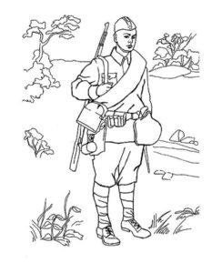 Военные солдаты картинки раскраски (7)