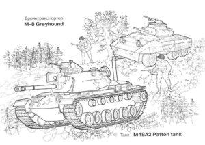 m48 a3 patton tank, раскраска