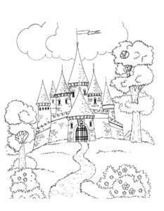 Замок картинки раскраски (10)