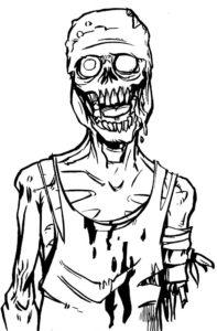Зомби картинки раскраски (31)