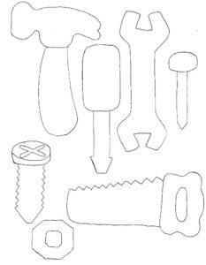 Инструменты молоток картинки раскраски (19)