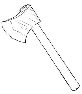Инструменты топор картинки раскраски (1)